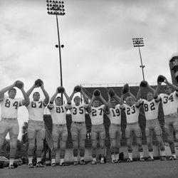 1968-Group portrait of FSU football players at Doak Sheridan Campbell Stadium in Tallahassee.