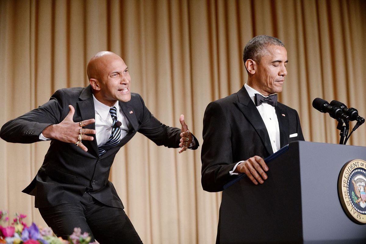 Barack Obama at the White House Correspondents Dinner in 2014.