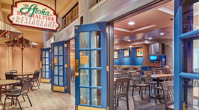 Indoor restaurant exterior with blue doors