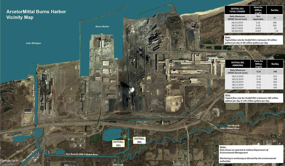 An overhead map of the ArcelorMittal steel plant in Portage shows where the company tested levels of cyanide and ammonia in the east branch of the Little Calumet River.
