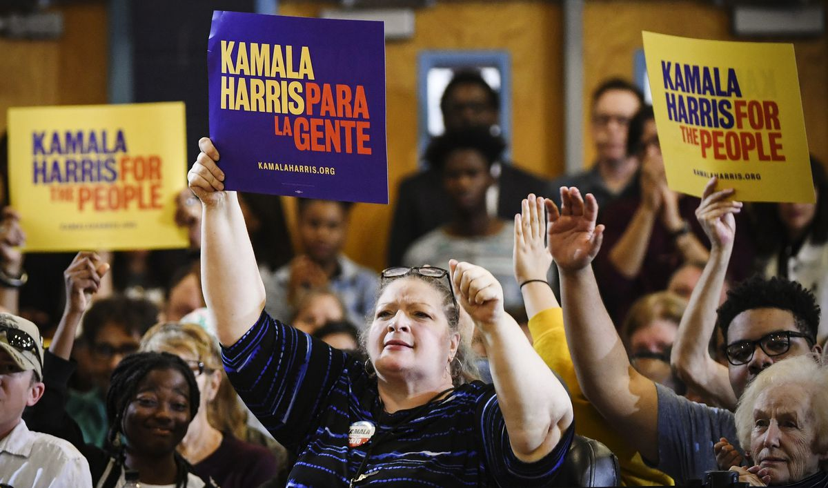 Supporters of  Sen. Kamala Harris (D-CA) cheer as she speaks during a town hall meeting in North Las Vegas, Nevada, on March 1, 2019.