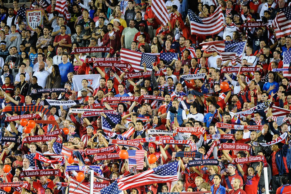 CARSON, CA - SEPTEMBER 02:  Fans of United States cheer for the their team as they tale on Costa Rica during the friendly soccer match at The Home Depot Center on September 2, 2011 in Carson, California.  (Photo by Kevork Djansezian/Getty Images)