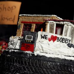 A cake is pictured at the retirement party for Bobby Rose, owner of 3rd Ave. Car Clinic, in Salt Lake City on Thursday, May 27, 2021. Rose is retiring and closing his auto repair shop after 34-plus years.
