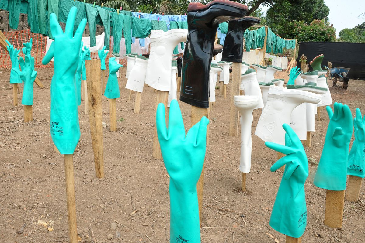 Gloves and boots used by medical staff treating Ebola victims in Guekedou, Guinea.