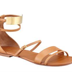 "Saint Laurent <a href=""http://www.bergdorfgoodman.com/p/Saint-Laurent-Strappy-Flat-Leather-Sandals-Tan-Flat/prod86830035_cat409908_cat10012_/?isEditorial=false&index=1&cmCat=cat000000cat200648cat203509cat10012cat409908"">sandals</a>: ""The essence of casual"