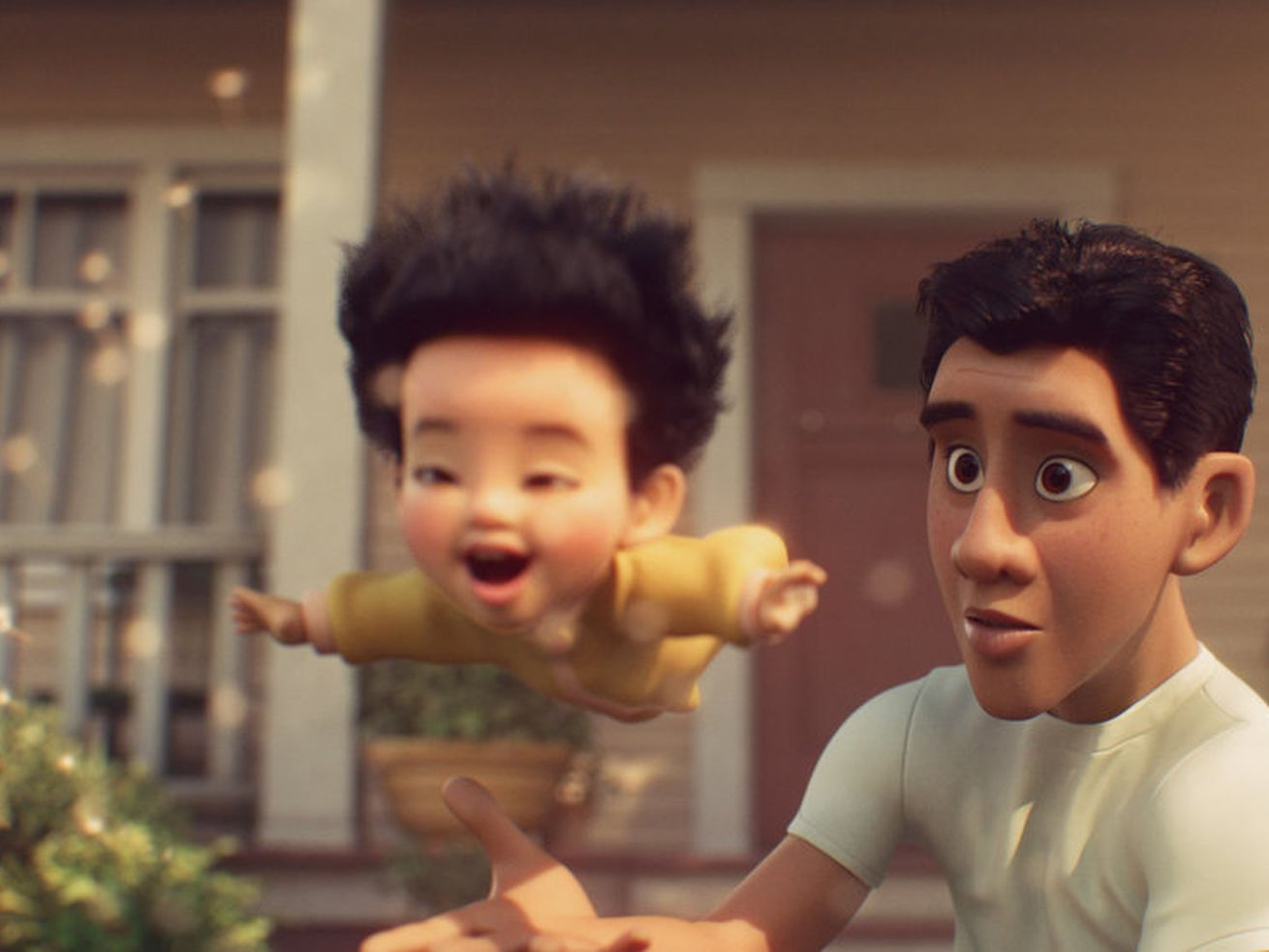 """In a screenshot from the animated short film """"Float,"""" the father watches his young son float through the air."""
