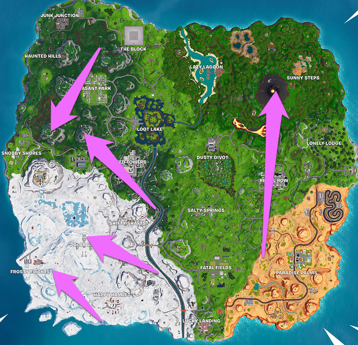 highest places on fortnite map locations - fortnite 5 highest points