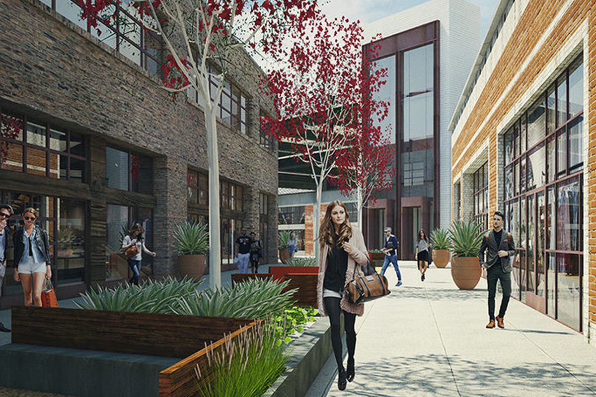 """Rendering: <a href=""""http://la.curbed.com/archives/2015/01/first_look_at_the_arts_districts_fancy_first_shopping_center.php"""">Curbed LA</a>"""