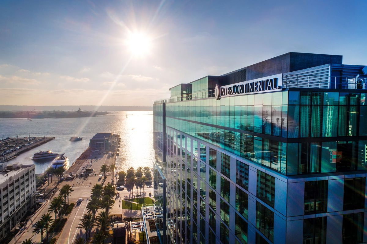 View of the top of the InterContinental San Diego and San Diego bay
