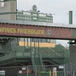 1:15 p.m. Another look at the work taking place, at the top of the center field bleachers, just underneath the scoreboard -