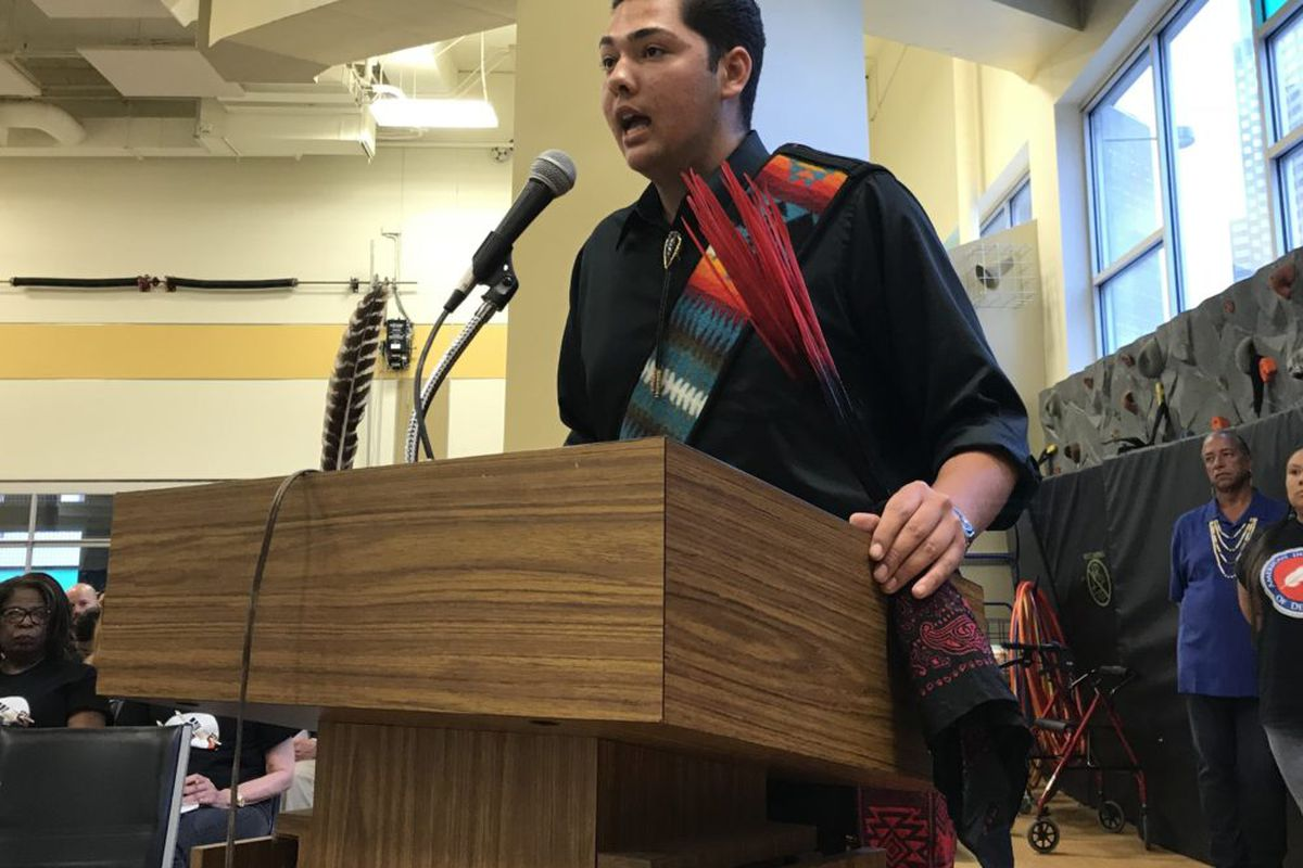 Student Antonio Garcia speaks in favor of the American Indian Academy of Denver at a school board meeting in May 2018.