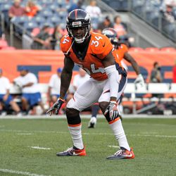 Broncos S Will Parks surveys the field during pre-snap, pregame warmups, before preseason game two.