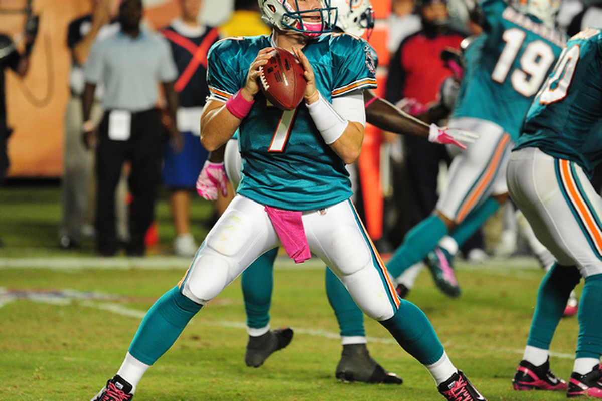 MIAMI - OCTOBER 4: Chad Henne #7 of the Miami Dolphins passes against the New England Patriots at Sun Life Field on October 4 2010 in Miami Florida. (Photo by Scott Cunningham/Getty Images)