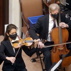 Members of the Utah Symphony perform in the Senate chamber on the first day of the Utah Legislature's 2021 general session at the Capitol in Salt Lake City on Tuesday, Jan. 19, 2021.