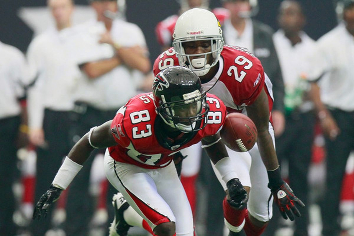 ATLANTA - SEPTEMBER 19:  Dominique Rodgers-Cromartie #29 of the Arizona Cardinals Harry Douglas #83 of the Atlanta Falcons at Georgia Dome on September 19 2010 in Atlanta Georgia.  (Photo by Kevin C. Cox/Getty Images)