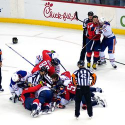 Capitals and Oilers Scrum
