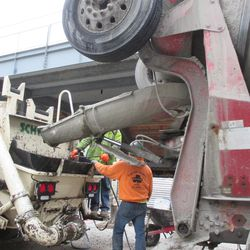 Concrete transfer equipment being readied to transfer concrete -
