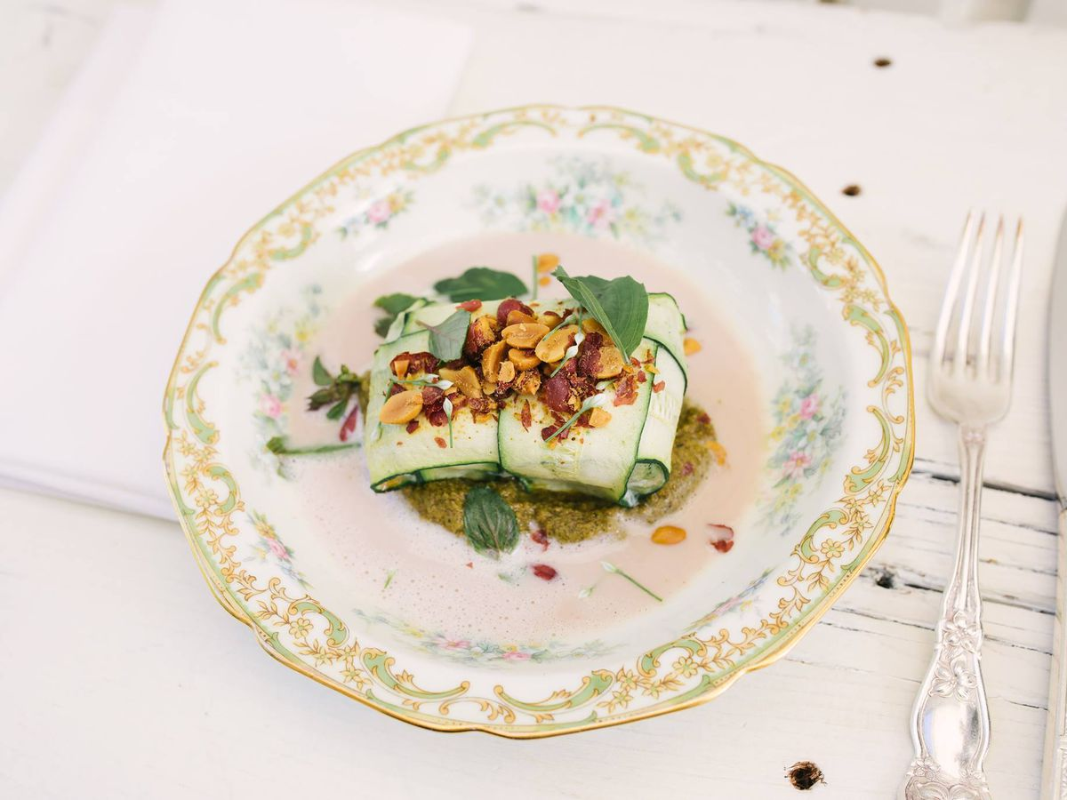 Roasted kingfish with summer squash and peanut tom kha
