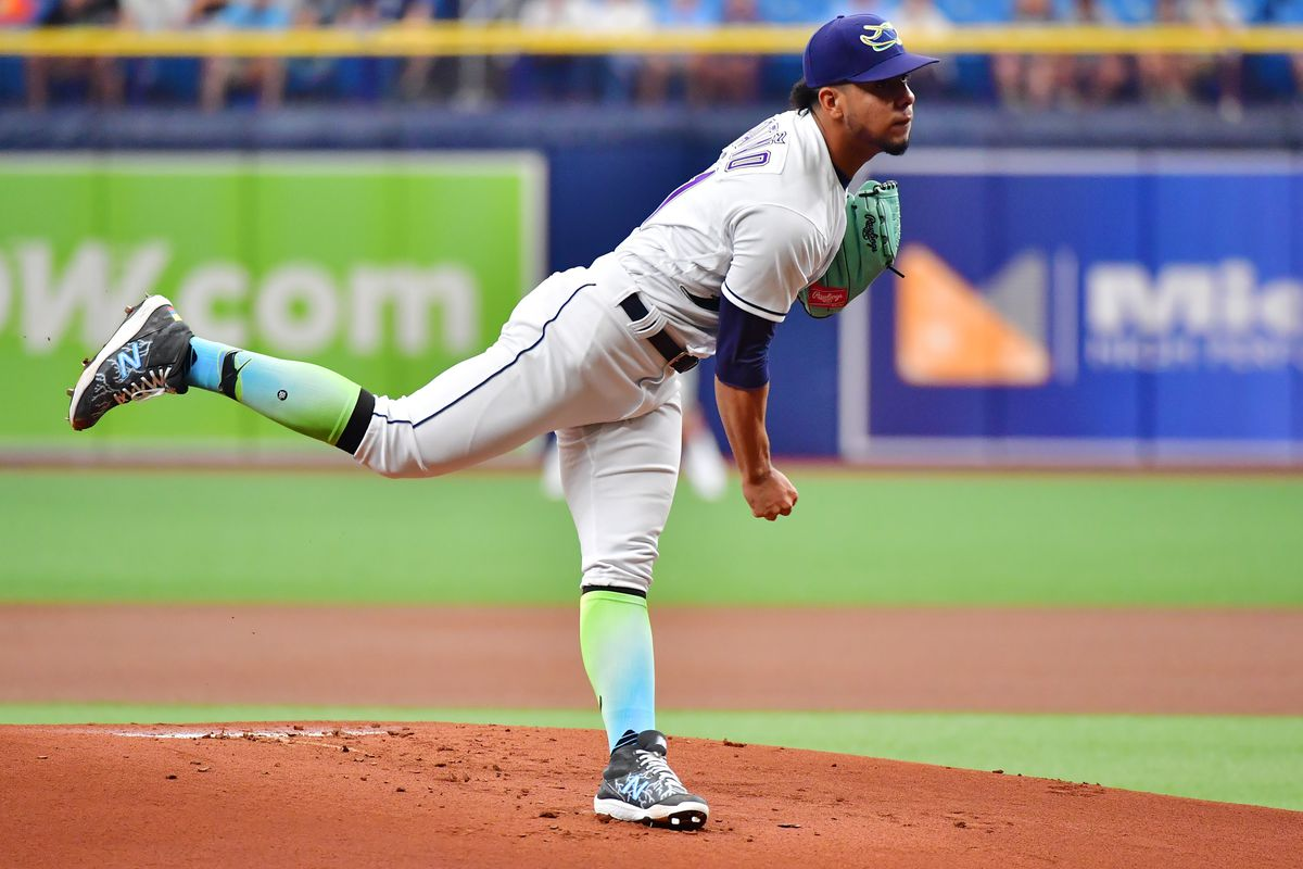 Luis Patino #61 of the Tampa Bay Rays delivers a pitch to the Chicago White Sox in the first inning at Tropicana Field on August 21, 2021 in St Petersburg, Florida.