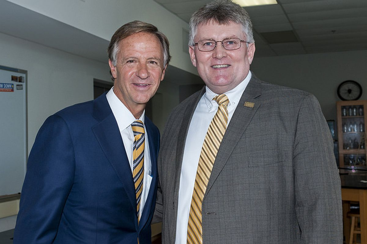 Lyle Ailshie (right) has been appointed interim education commissioner by outgoing Gov. Bill Haslam. (Photo courtesy of Tennessee Department of Education)