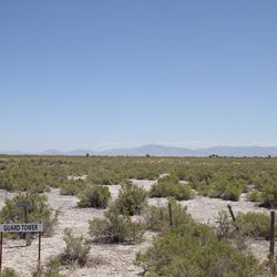 A guard tower location at the World War II Japanese-American Topaz Internment Camp.