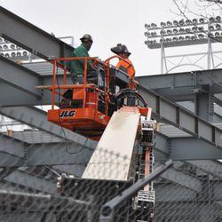 Steelworkers in the left-field bleachers -