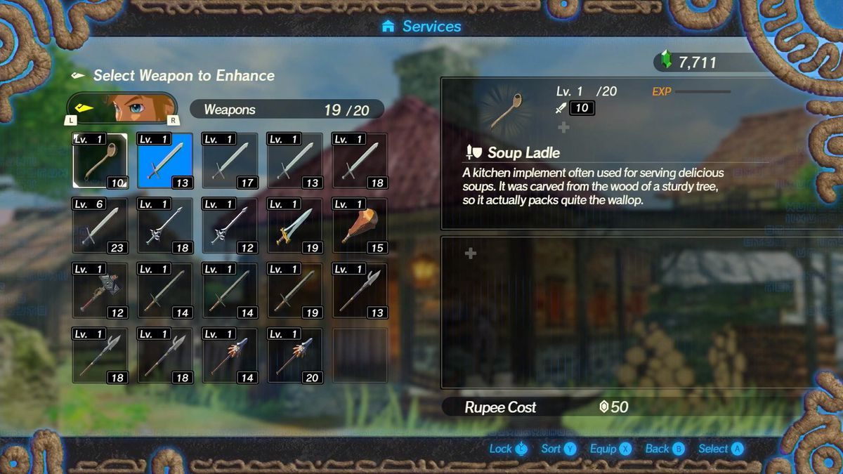 A weapons screen showing a various amount of weapons in Hyrule Warriors and how to upgrade them