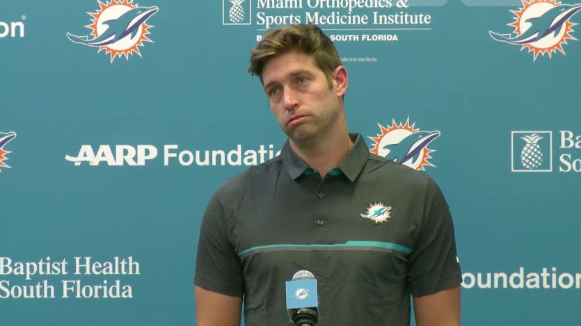 Jay Cutler frowning during a press conference