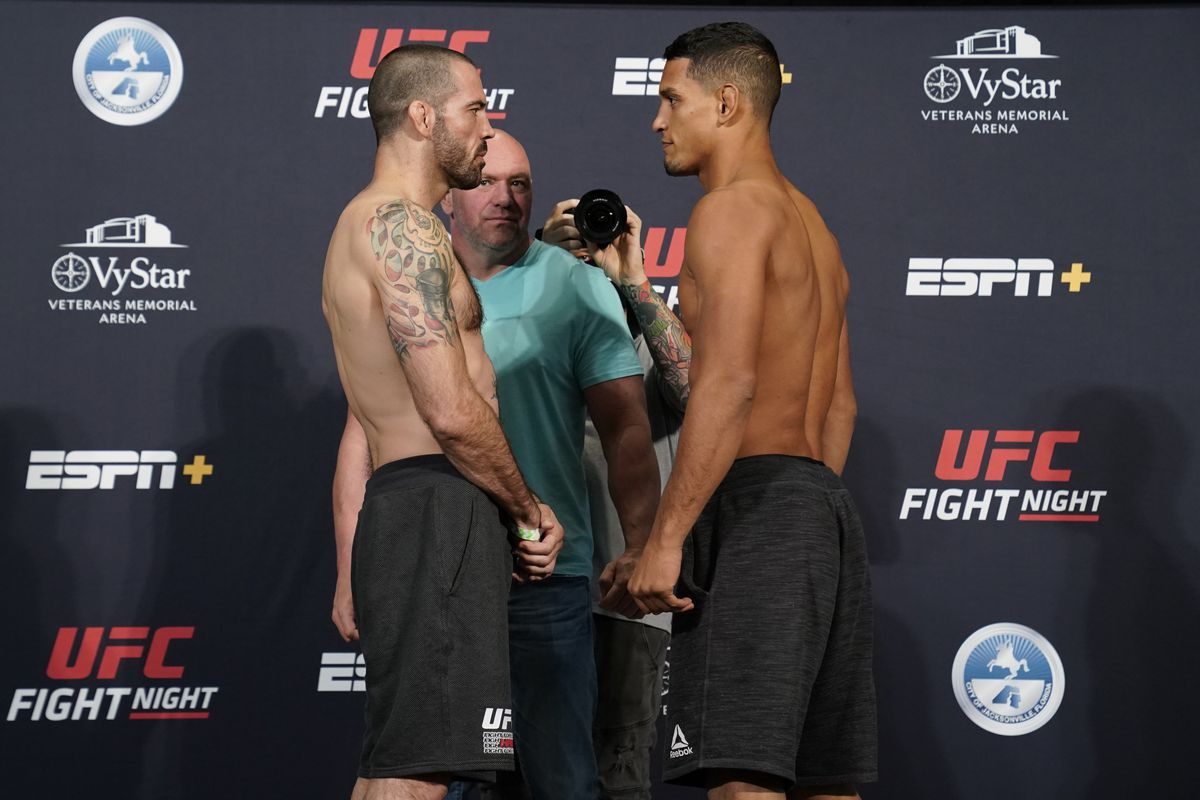 Matt Brown and Miguel Baeza face off during the official UFC Fight Night weigh-in on May 15, 2020 in Jacksonville, Florida.