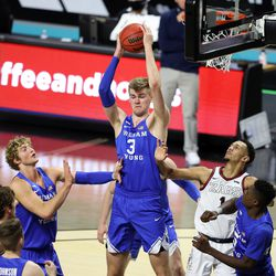 Brigham Young Cougars forward Matt Haarms (3) grabs a high rebound as BYU and Gonzaga play in the finals of the West Coast Conference tournament at the Orleans Arena in Las Vegas on Tuesday, March 9, 2021. Gonzaga won 88-78.