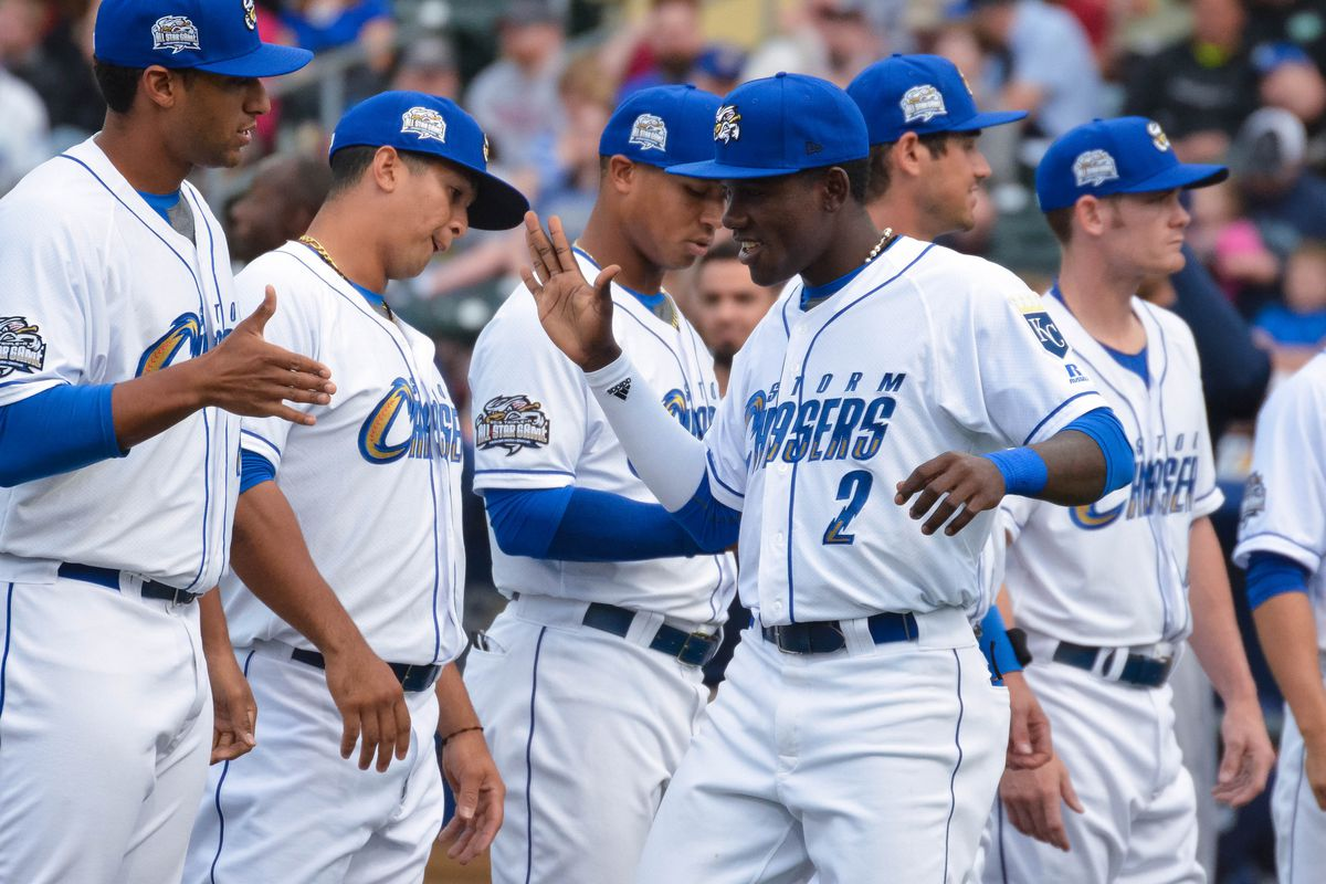 Orlando Calixte (#2) is back among the ranks of the Minors, and giving high fives with authority.