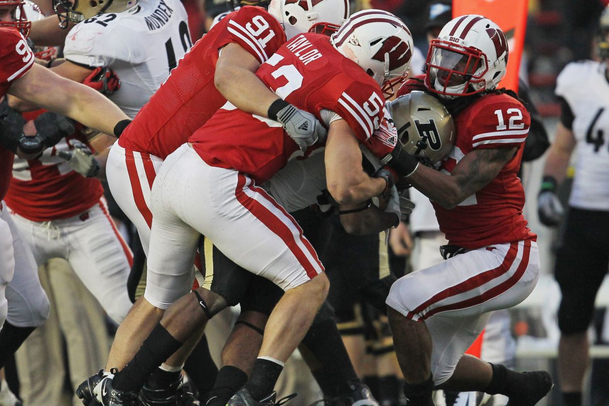Jordan Kohout (No. 91) will have his playing career cut short due to migraine headaches. Still, things could be much worse for the Badgers.