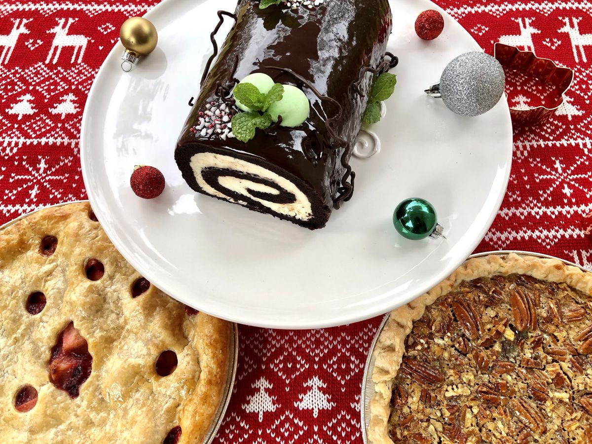 Peppermint chocolate chip yule log from Kirsh Baking Company.