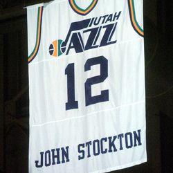Retired Utah Jazz point guard John Stockton's jersey is unveiled on Monday Nov. 22, 2004 in Salt Lake City, Utah.
