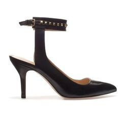 """<b>Zara</b> <a href=""""http://www.zara.com/us/en/woman/shoes/studded-sling-back-with-ankle-strap-c434549p1048801.html"""">Studded Leather Slingback with Ankle Strap</a>, $59.99 (on sale from $79.90)"""