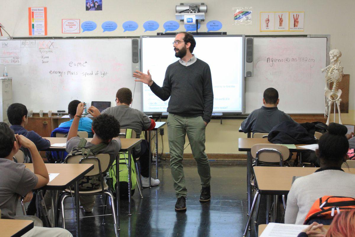 Jason James teaches his seventh-grade science class at the Carroll Gardens School for Innovation.