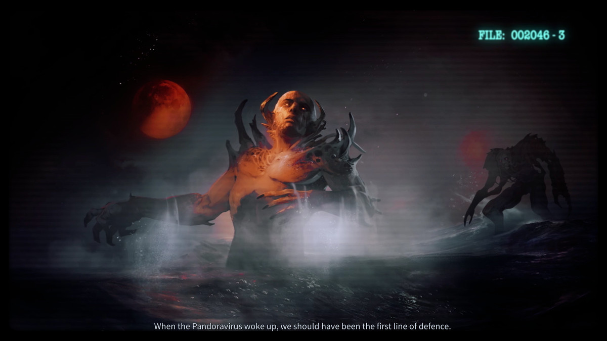 A still frame from a lightly animated cutscene features Pandorans rising from the deep.