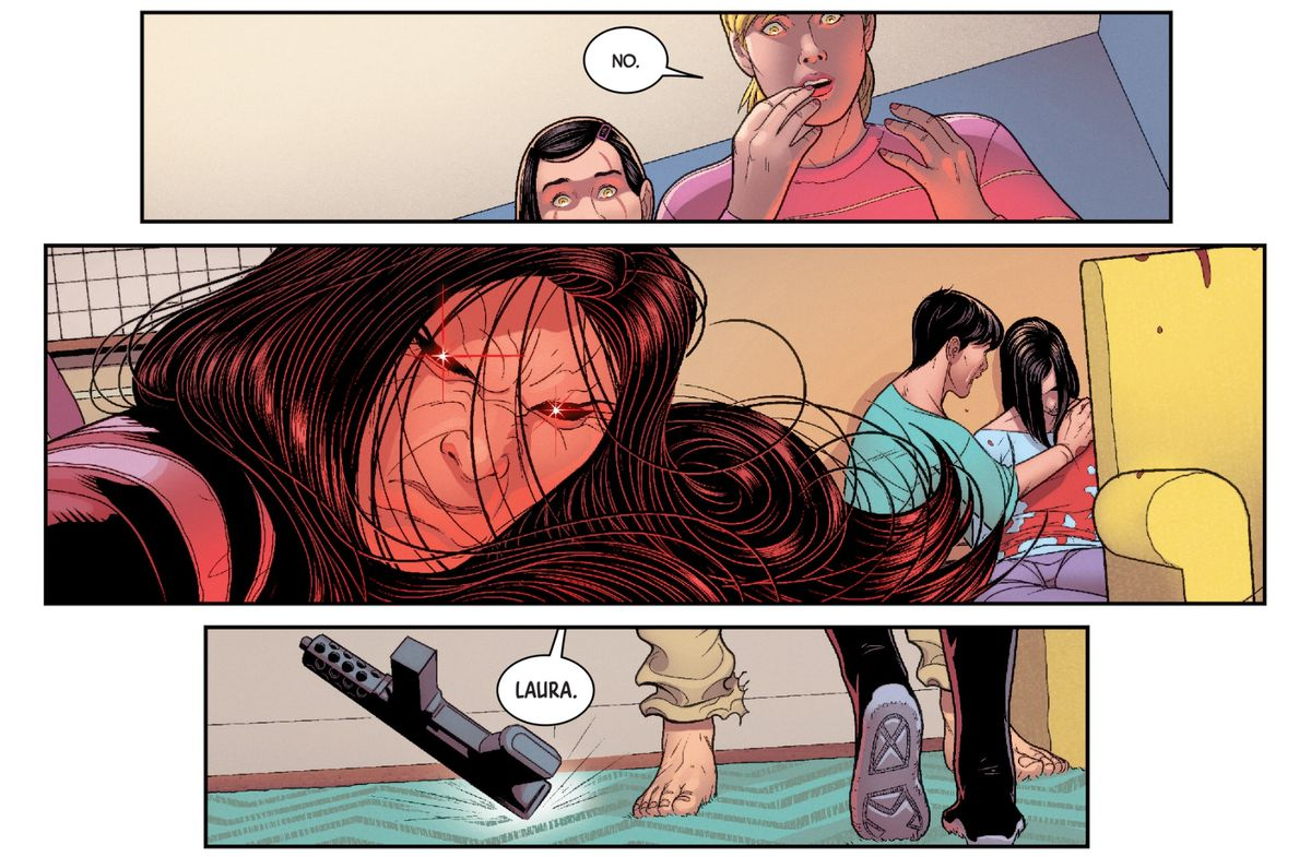 Laura reacts to a shocking murder, in All-New Wolverine #27 (2017), Marvel Comics.