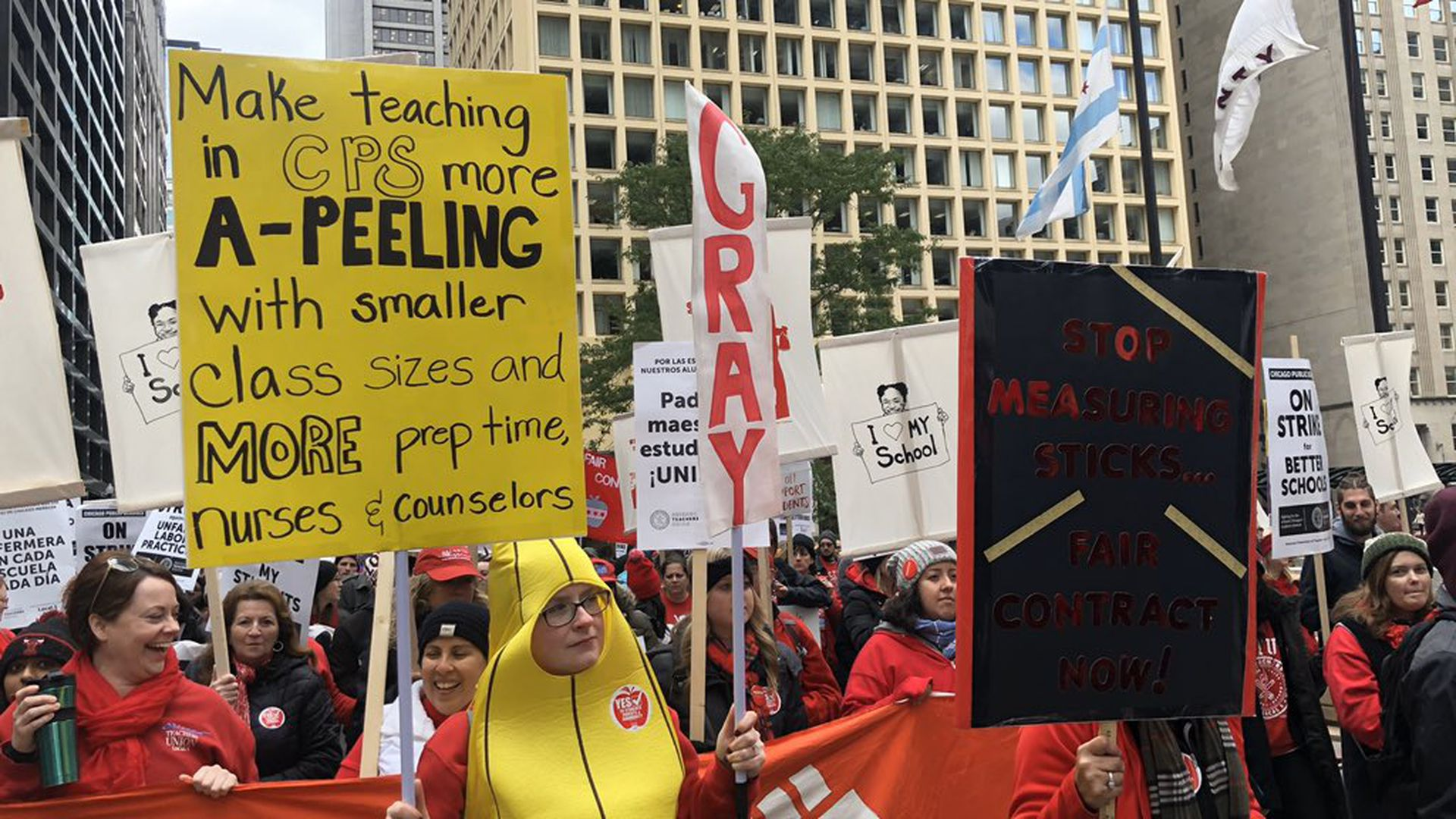 CTU members rallied in downtown Chicago on the first afternoon of their October 2019 strike.