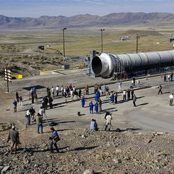 ATK engineers and media representatives gather Thursday at ATK at Promontory for the Ares I rocket test.