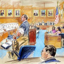 This artist rendering shows former Major League Baseball pitcher Roger Clemens, standing left, and his lawyer Rusty Hardin, front left, facing prospective jurors inside federal court in Washington, Monday, Aril 16, 2012, as U.S. District Judge Reggie Walton, right, presides over the jury selection in the perjury trial.   (AP Photo/Dana Verkouteren)