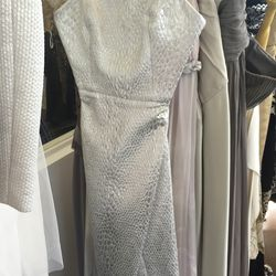 Silver textured cocktail dress, $100
