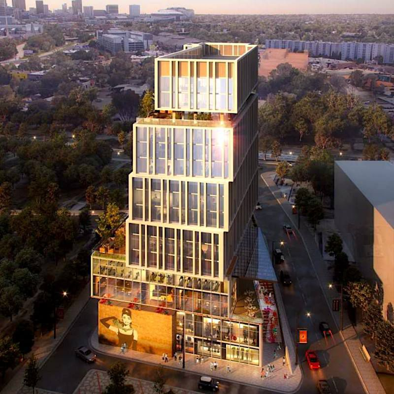 A rendering of the Star Metals hotel shows how the building will look like three-story blocks stacked like books lazily tossed on top of one another.