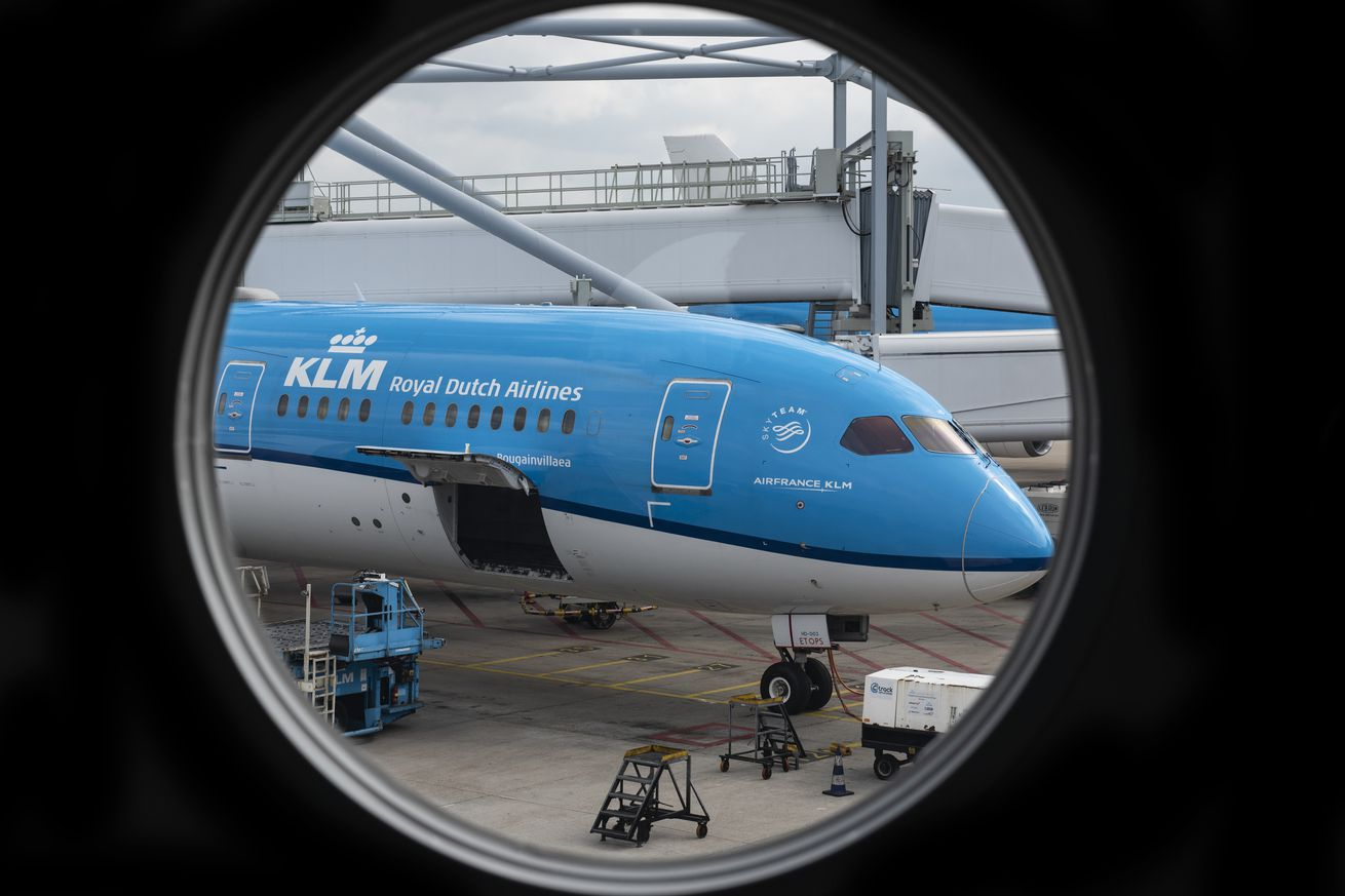 KLM Royal Dutch Airlines plane at Amsterdam Schiphol Airport...