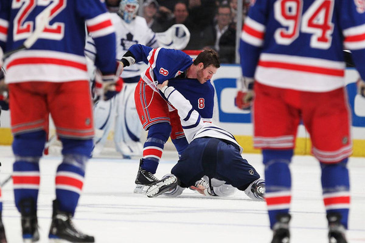 NEW YORK - OCTOBER 15:  Brandon Prust #8 of the New York Rangers fights against Mike Brown #18 of the Toronto Maple Leafs during their game on October 15 2010 at Madison Square Garden in New York City.  (Photo by Al Bello/Getty Images)