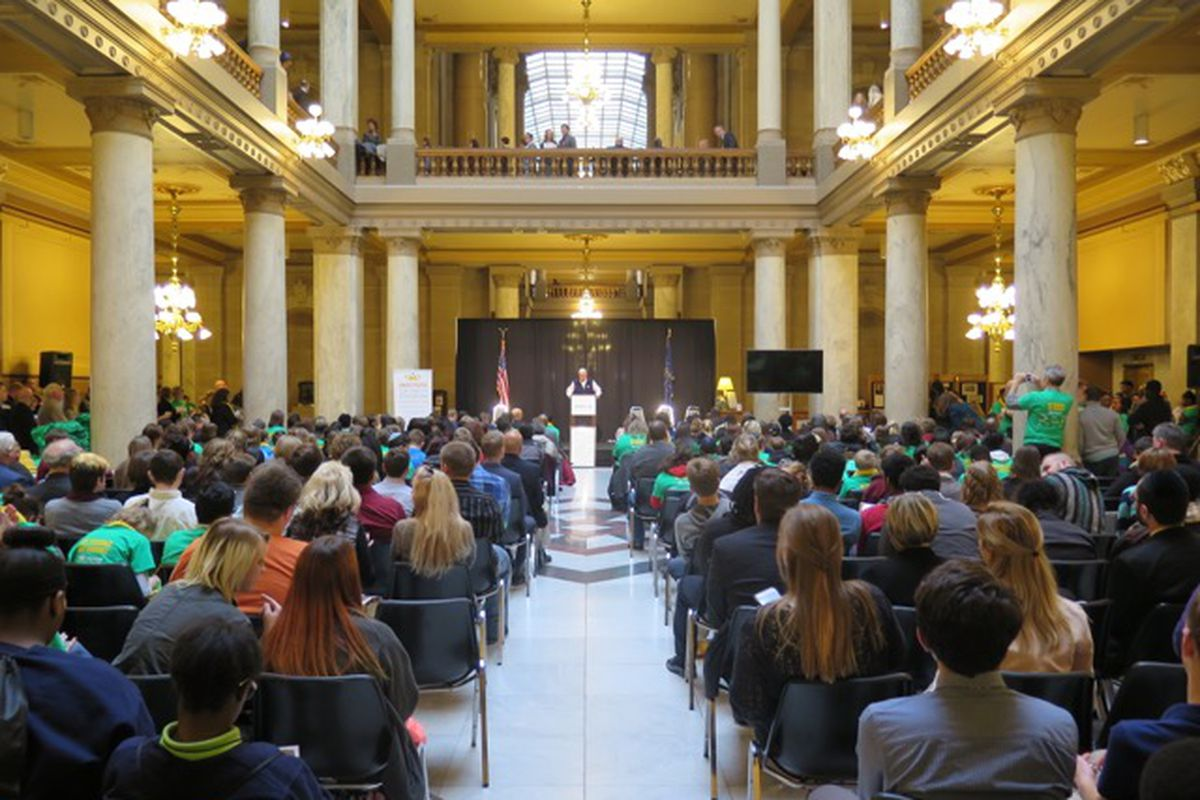 Mike Pence speaks at today's school choice rally at the Indiana Statehouse.