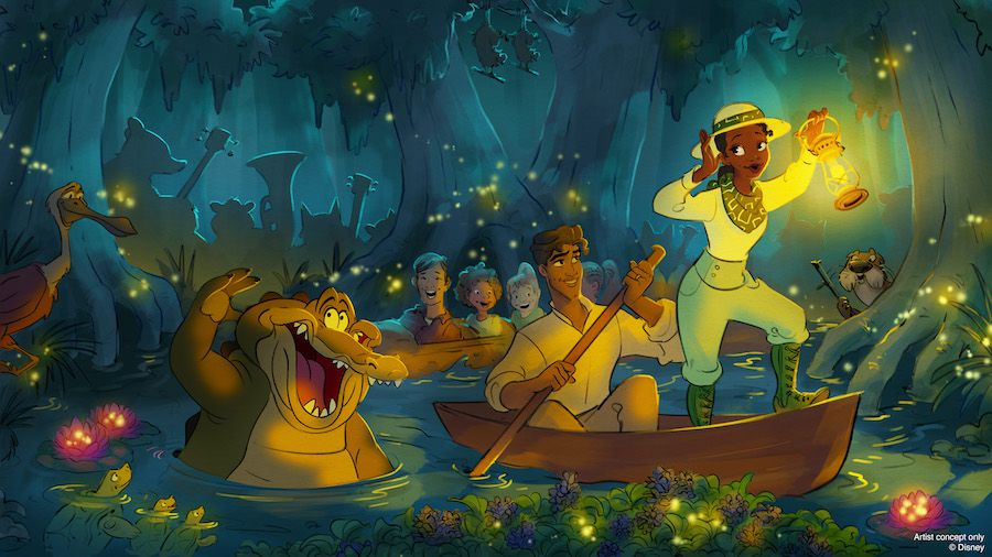 tiana stands on a log flume, ushering guests into the bayou