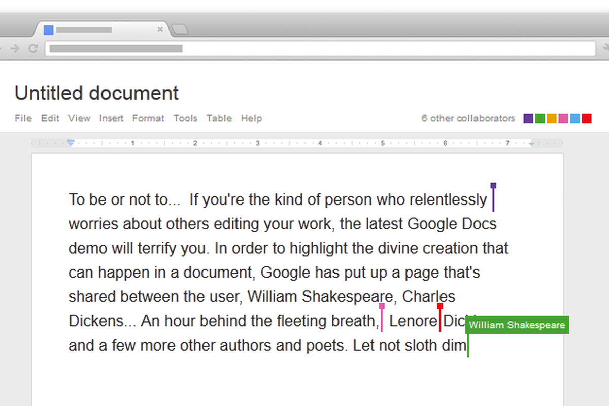 collaborate with nietzsche dickens and shakespeare in google docs
