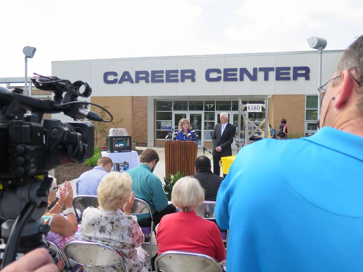 Ritz made her announcement in front of the Career Center at Ben Davis High School in Wayne Township.