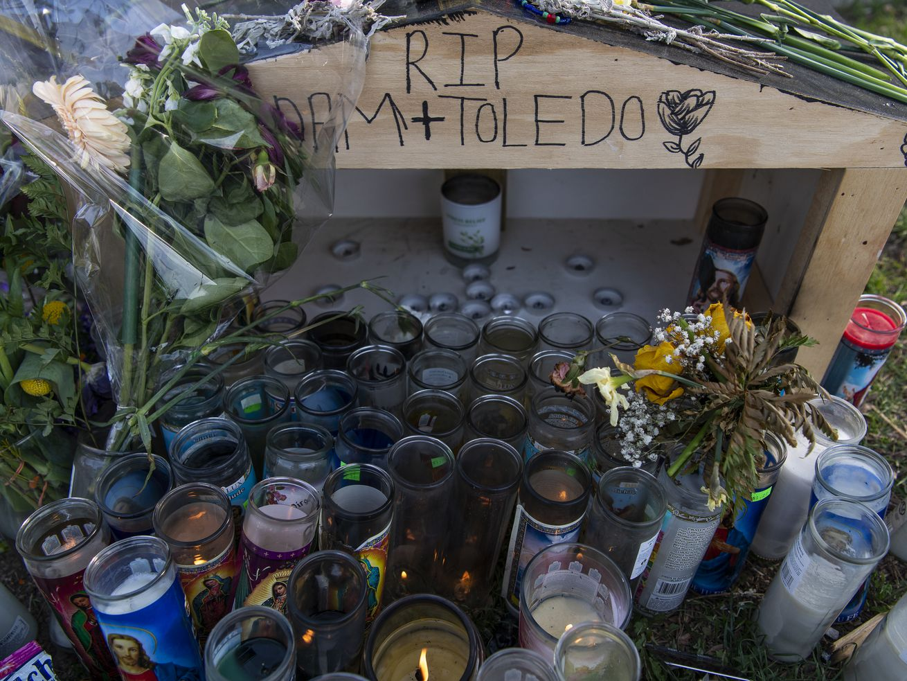 A memorial sits at the mouth of the alleyway where Adam Toledo was shot and killed by Chicago police near 24th Street and Sawyer Avenue in the Little Village neighborhood.